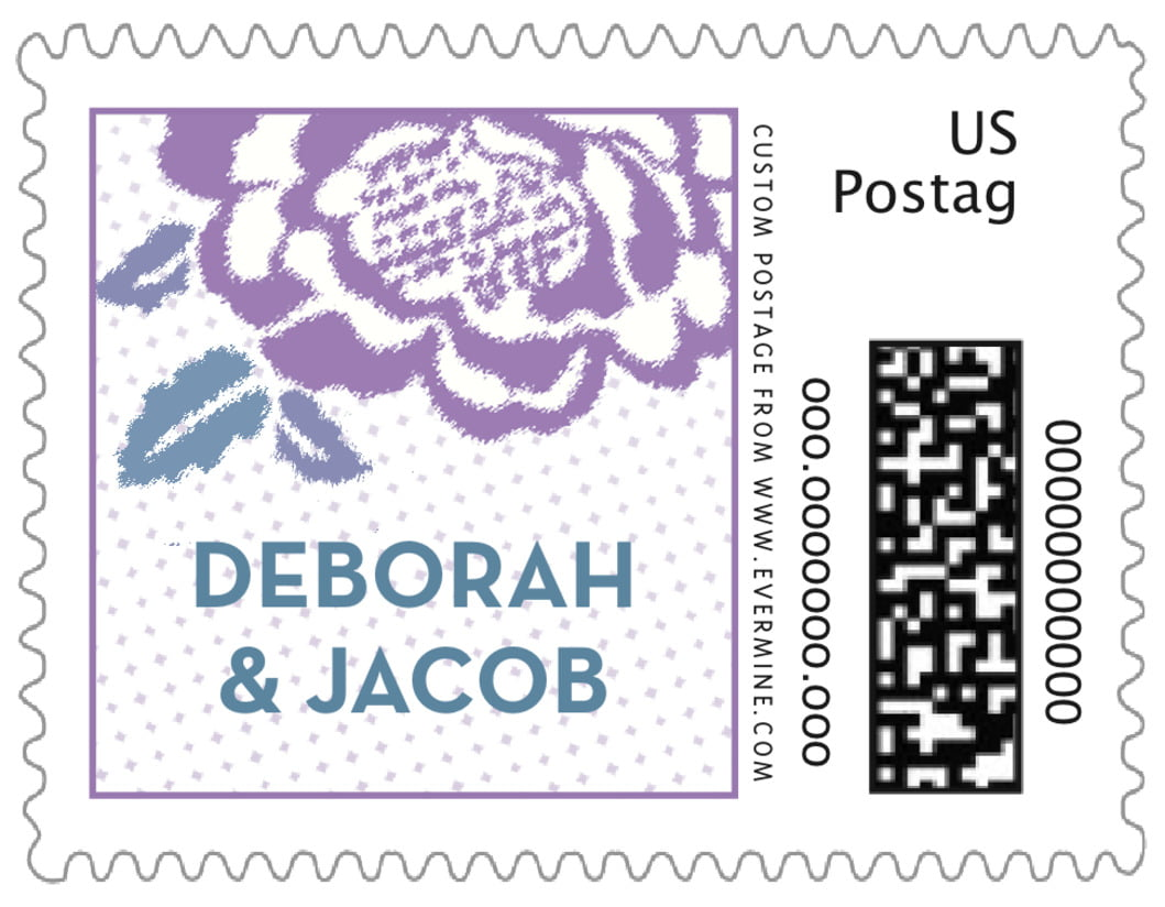 small custom postage stamps - lilac - spring romance (set of 20)