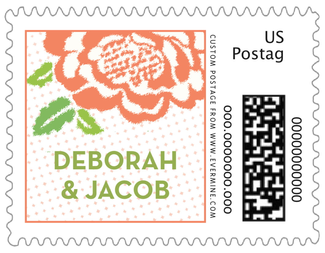 small custom postage stamps - peach - spring romance (set of 20)