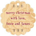 Sugar Pine scallop hang tags