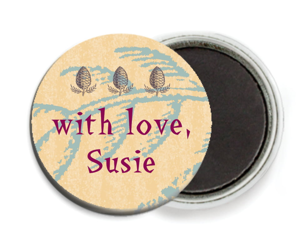 custom button magnets - ice blue - sugar pine (set of 6)