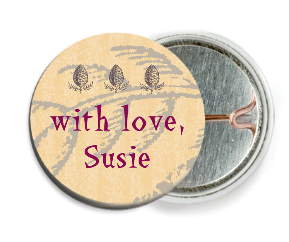 custom pin back buttons - smoke - sugar pine (set of 6)