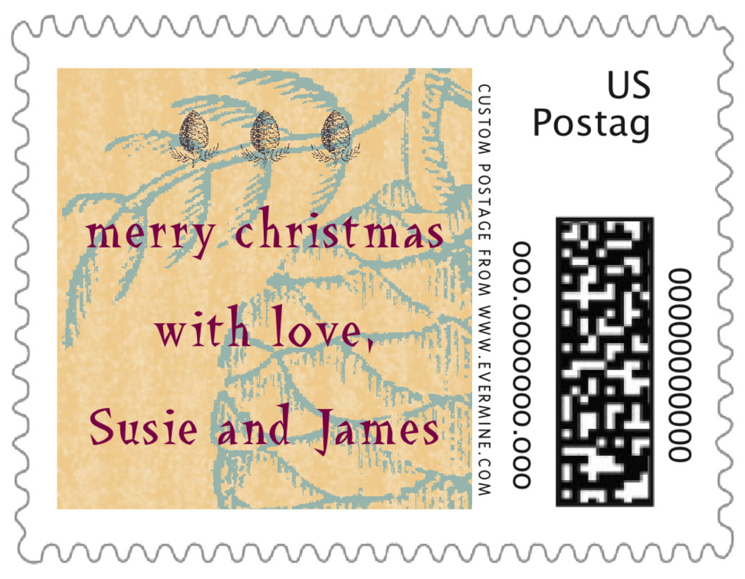 small custom postage stamps - ice blue - sugar pine (set of 20)