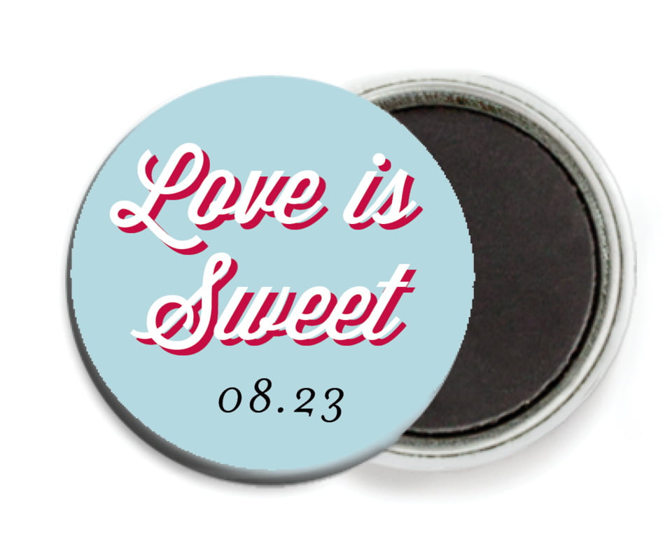 custom button magnets - deep red & blue - swing (set of 6)