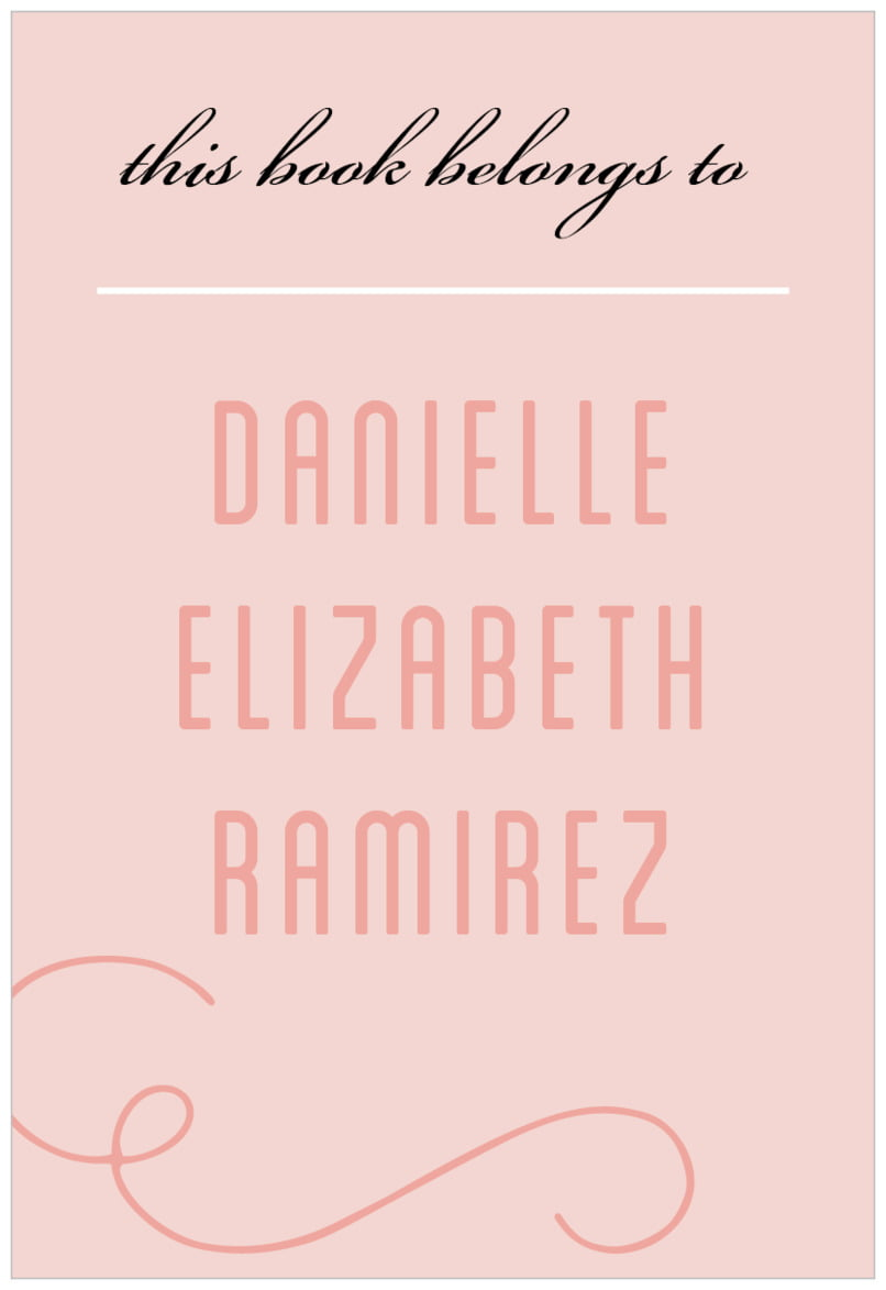 rectangular bookplates - pale pink - swing (set of 15)