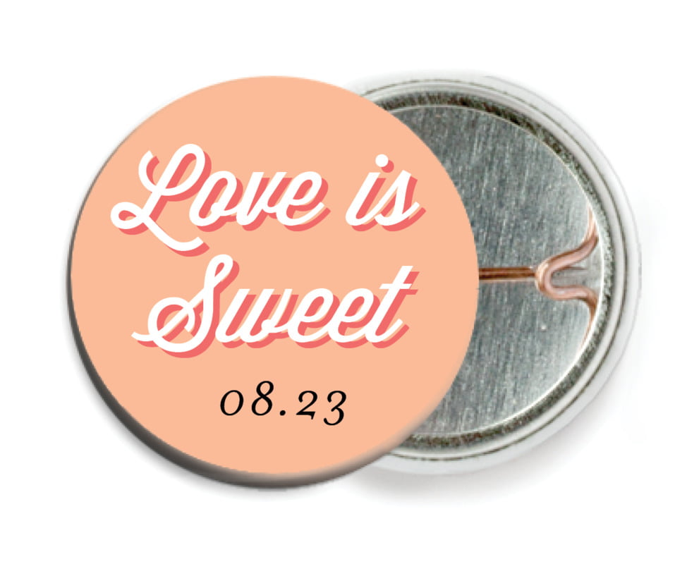 custom pin back buttons - peach - swing (set of 6)