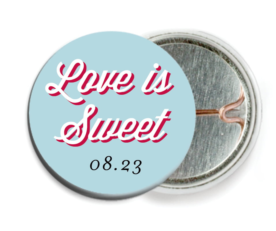 custom pin back buttons - deep red & blue - swing (set of 6)