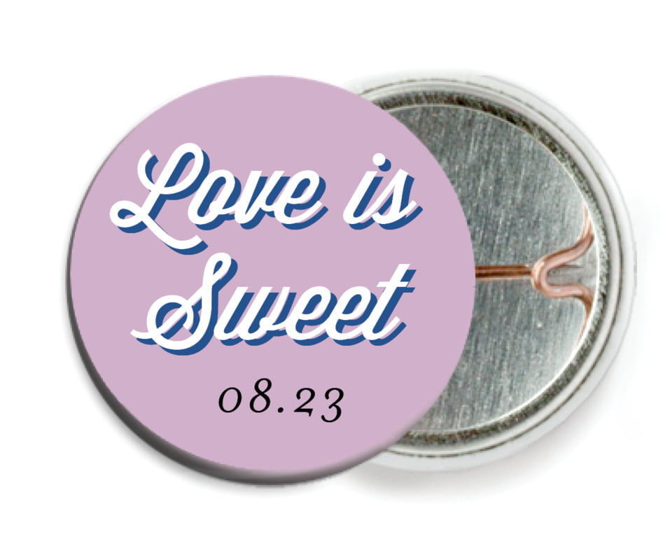 custom pin back buttons - lilac - swing (set of 6)