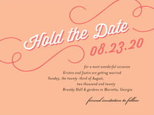 custom save-the-date cards - peach - swing (set of 10)