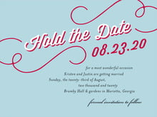 custom save-the-date cards - deep red & blue - swing (set of 10)