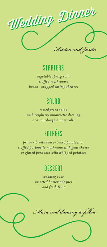 custom menus - lime - swing (set of 10)