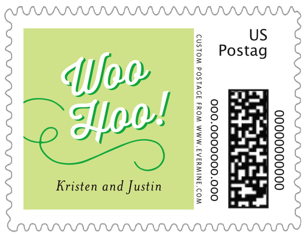 small custom postage stamps - lime - swing (set of 20)