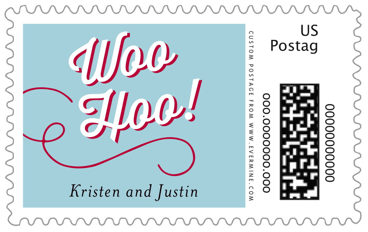 custom large postage stamps - deep red & blue - swing (set of 20)