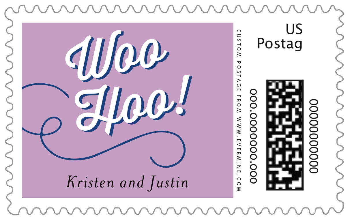 custom large postage stamps - lilac - swing (set of 20)