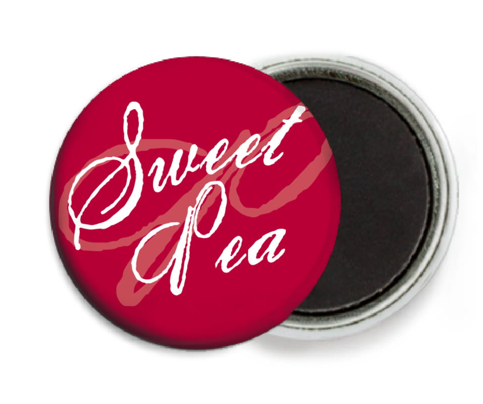 custom button magnets - deep red - sweetheart (set of 6)