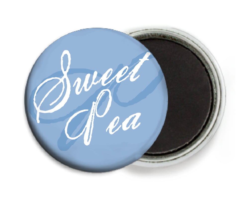 custom button magnets - blue - sweetheart (set of 6)