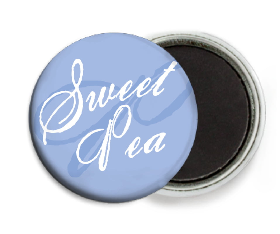 custom button magnets - periwinkle - sweetheart (set of 6)
