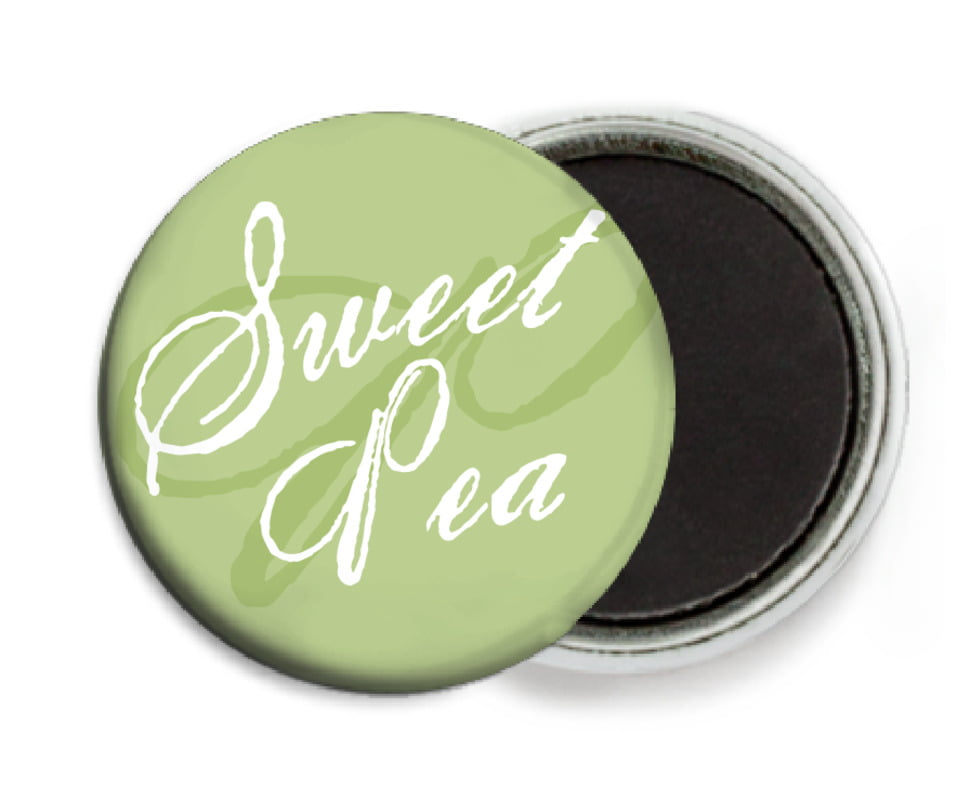 custom button magnets - green tea - sweetheart (set of 6)