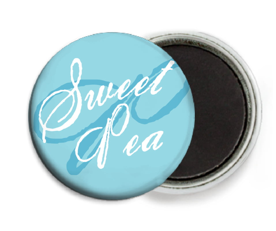 custom button magnets - bahama blue - sweetheart (set of 6)