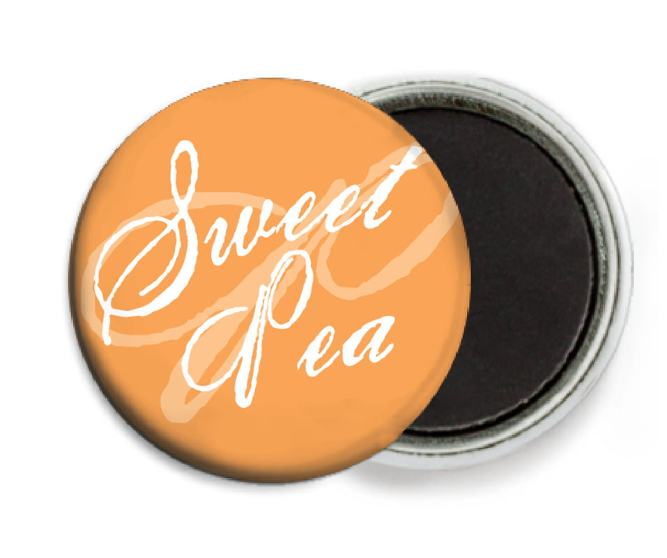 custom button magnets - tangerine - sweetheart (set of 6)