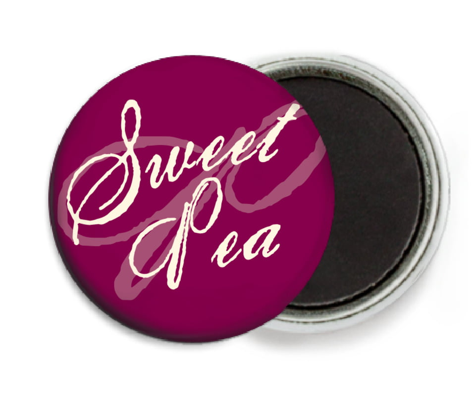custom button magnets - burgundy - sweetheart (set of 6)