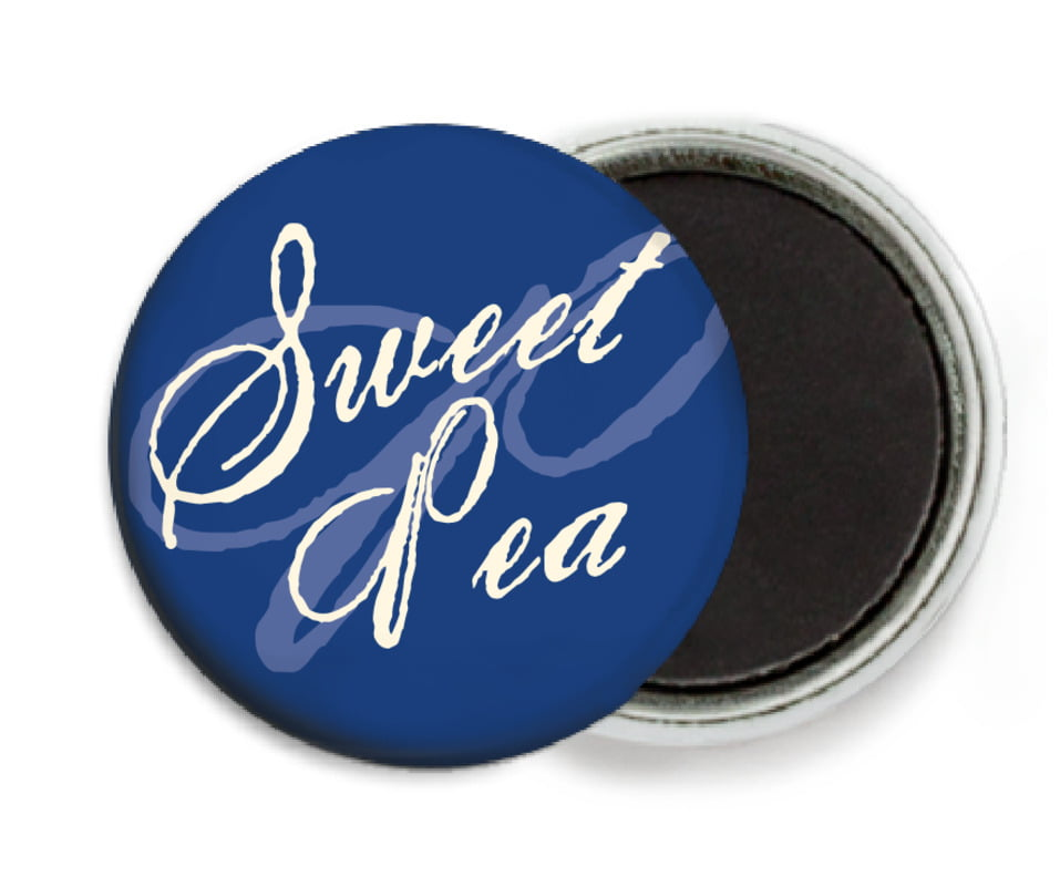 custom button magnets - deep blue - sweetheart (set of 6)