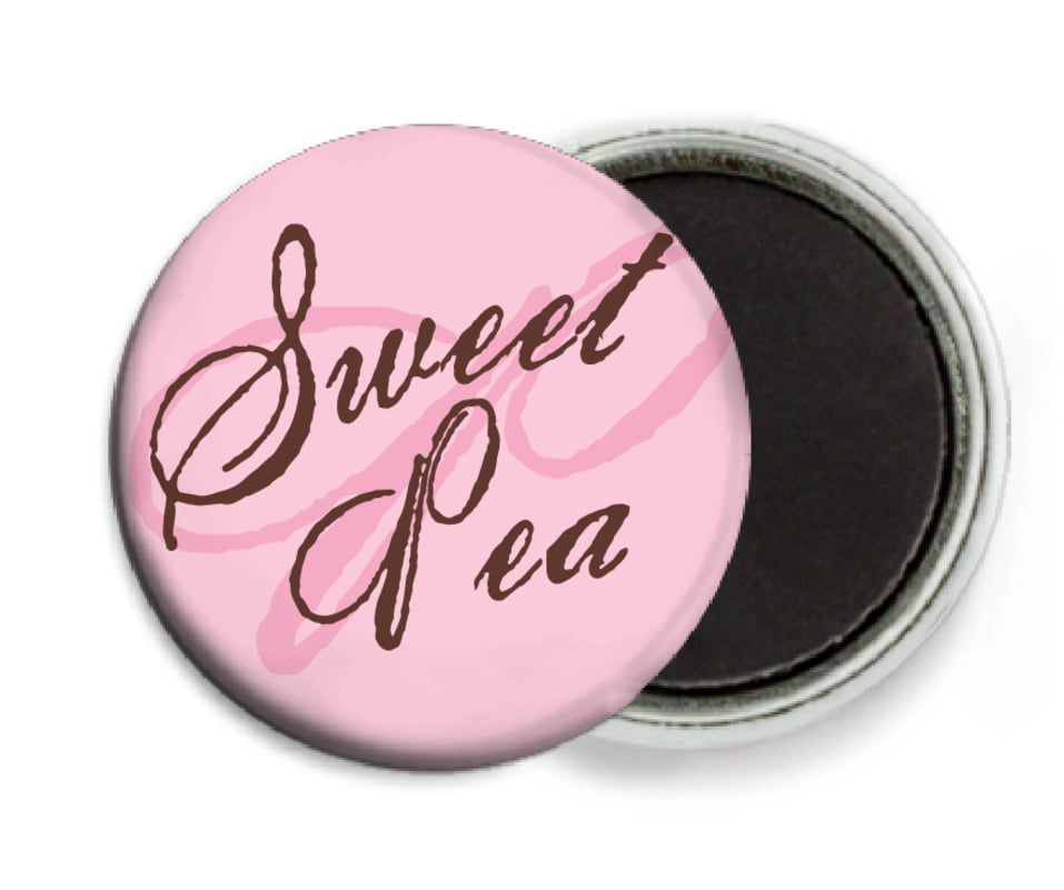 custom button magnets - cocoa & pink - sweetheart (set of 6)