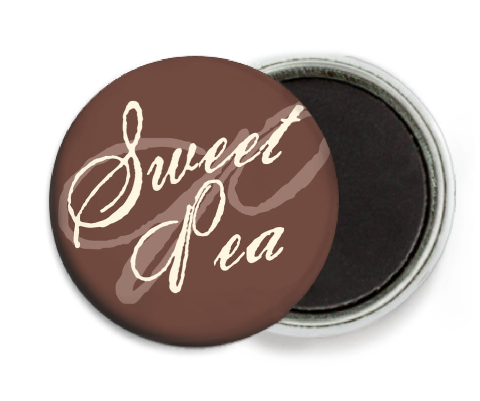 custom button magnets - chocolate - sweetheart (set of 6)
