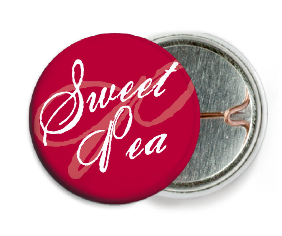 custom pin back buttons - deep red - sweetheart (set of 6)