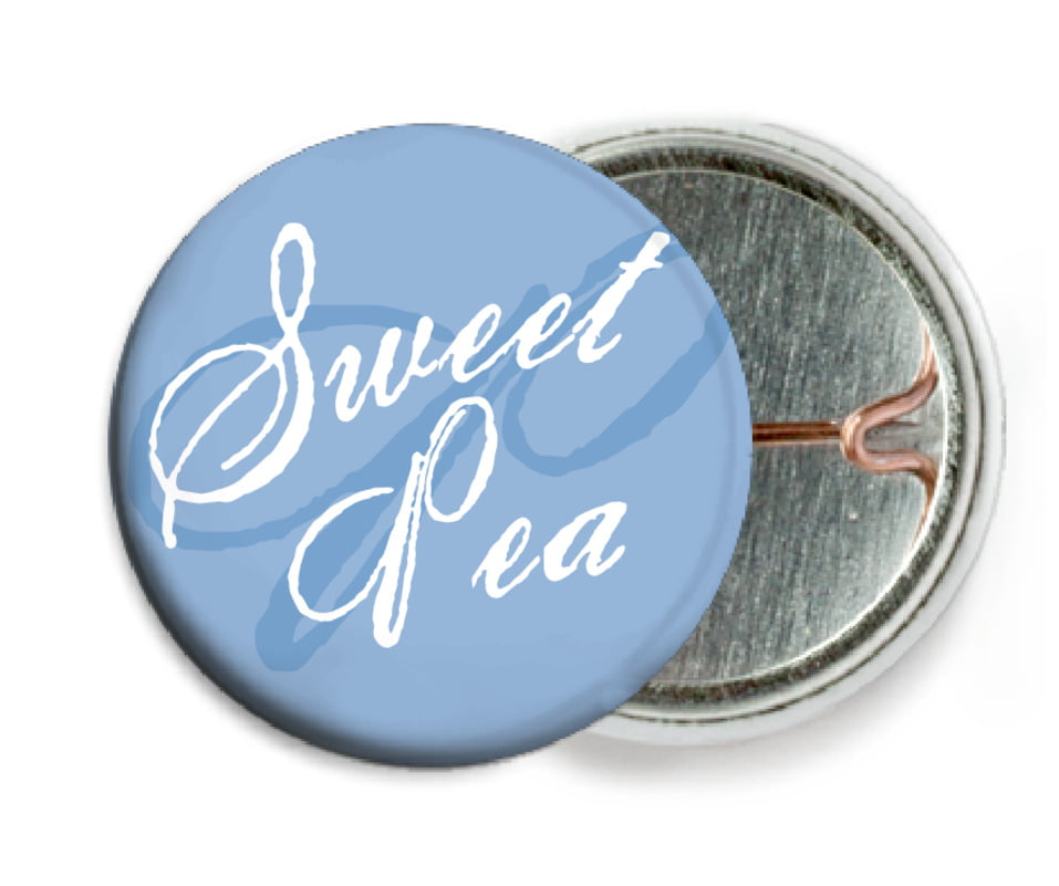 custom pin back buttons - blue - sweetheart (set of 6)