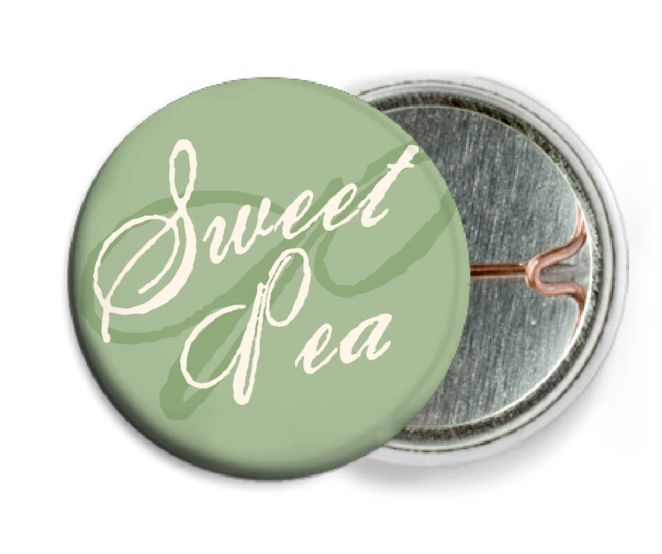 custom pin back buttons - sage - sweetheart (set of 6)