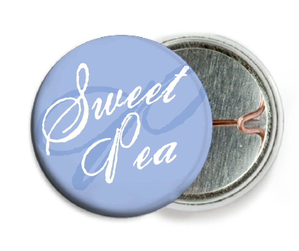 custom pin back buttons - periwinkle - sweetheart (set of 6)
