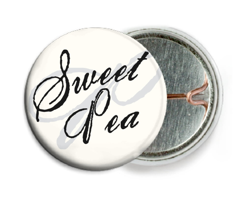 custom pin back buttons - tuxedo - sweetheart (set of 6)