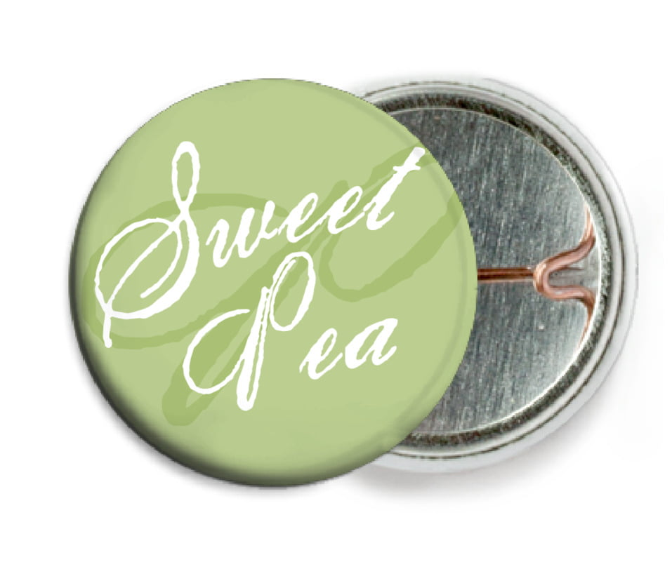 custom pin back buttons - green tea - sweetheart (set of 6)