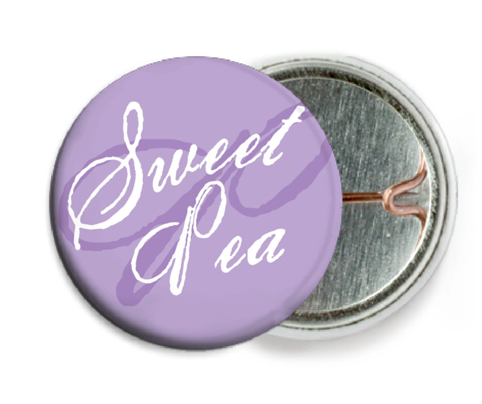 custom pin back buttons - lilac - sweetheart (set of 6)
