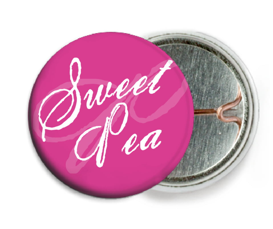 custom pin back buttons - bright pink - sweetheart (set of 6)