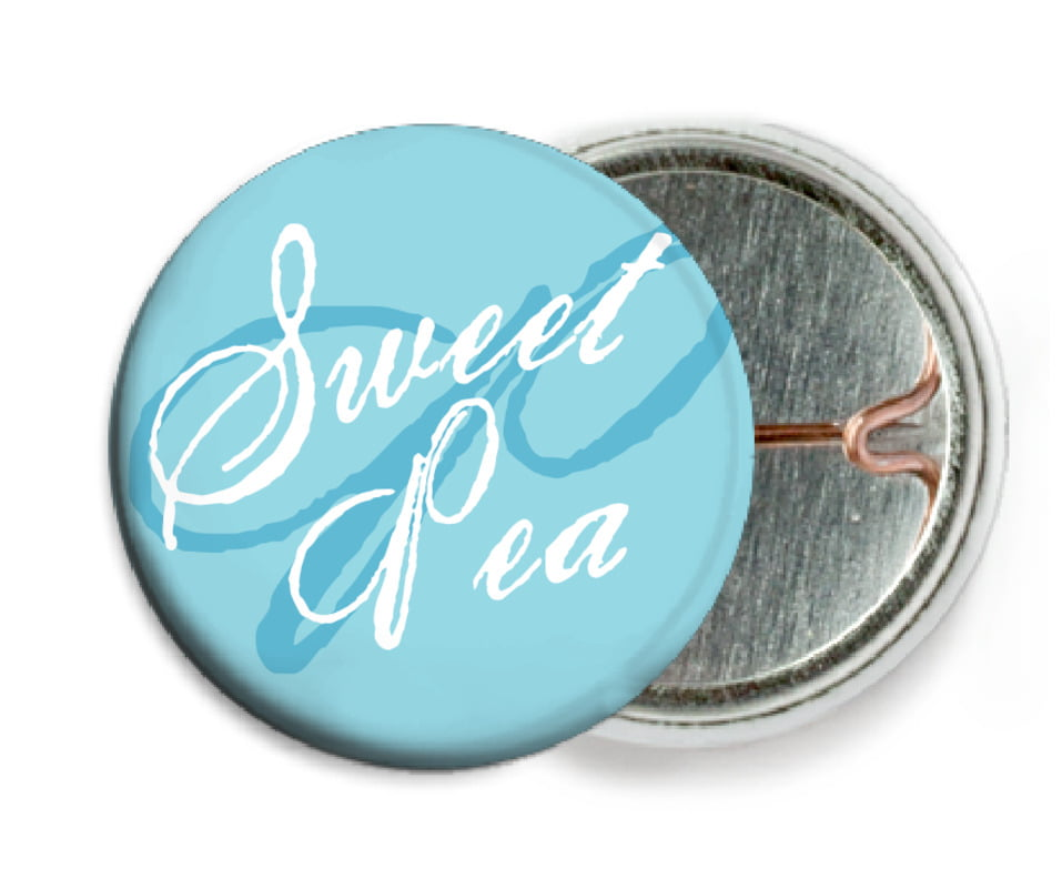 custom pin back buttons - bahama blue - sweetheart (set of 6)