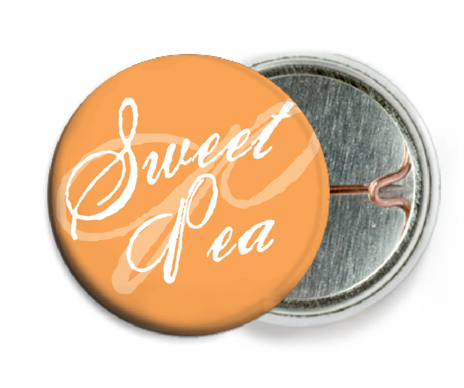 custom pin back buttons - tangerine - sweetheart (set of 6)