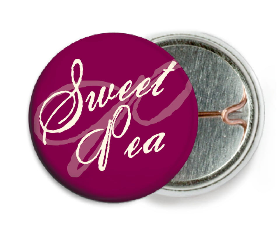 custom pin back buttons - burgundy - sweetheart (set of 6)
