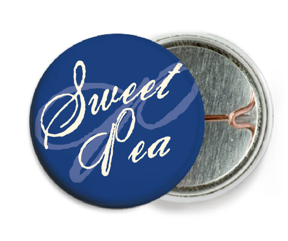custom pin back buttons - deep blue - sweetheart (set of 6)