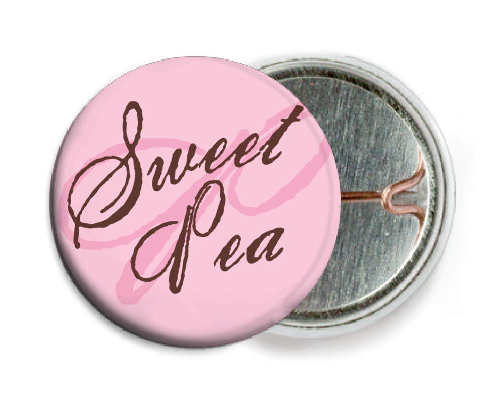 custom pin back buttons - cocoa & pink - sweetheart (set of 6)