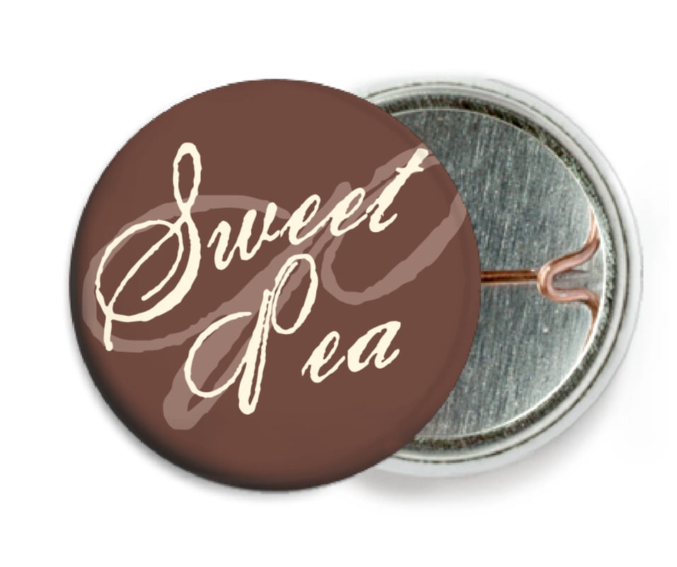 custom pin back buttons - chocolate - sweetheart (set of 6)