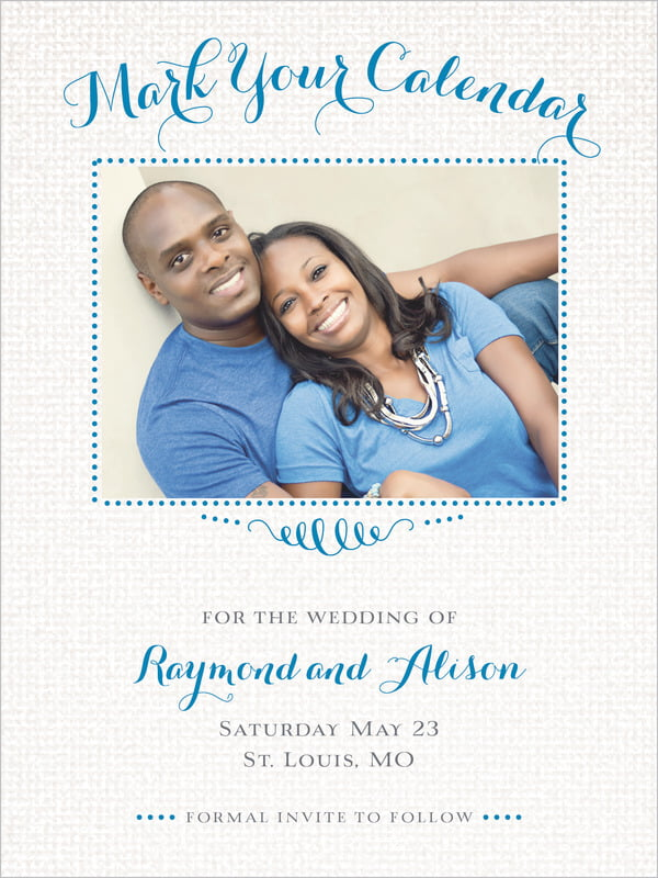 custom tall save the date cards - blue - swash in love (set of 10)