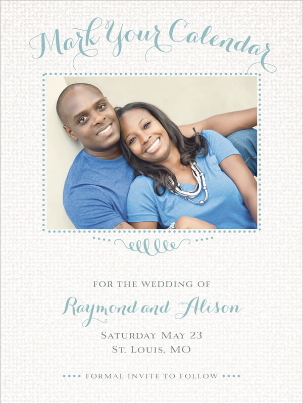 custom tall save the date cards - sea glass - swash in love (set of 10)