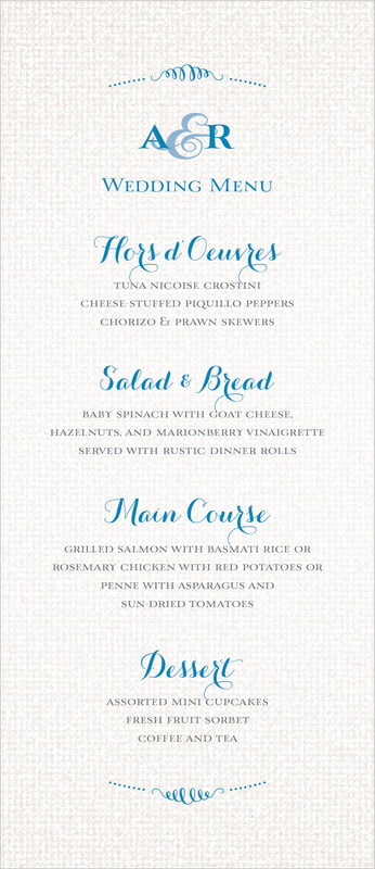 custom menus - blue - swash in love (set of 10)