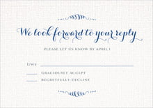custom response cards - deep blue - swash in love (set of 10)