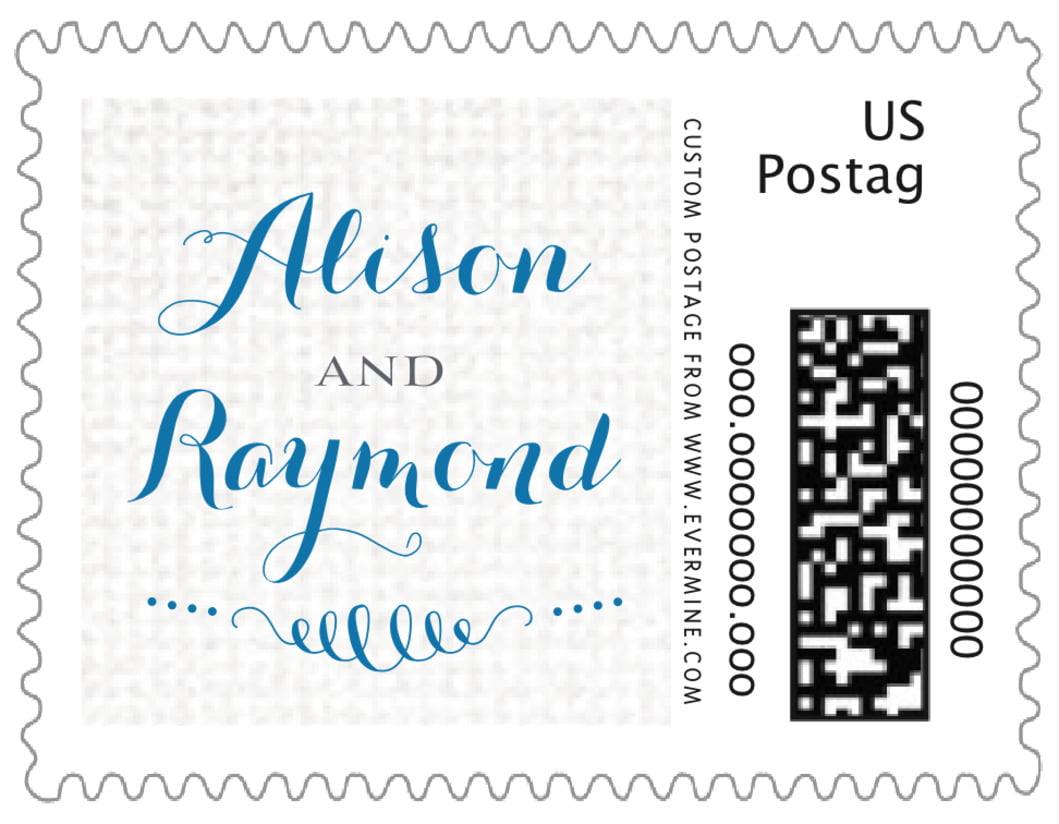 small custom postage stamps - blue - swash in love (set of 20)