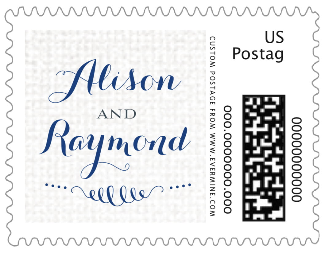 small custom postage stamps - deep blue - swash in love (set of 20)