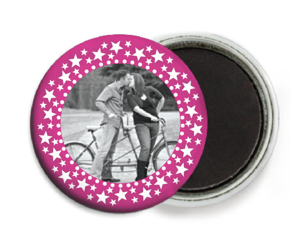 custom button magnets - bright pink - tiny charms (set of 6)
