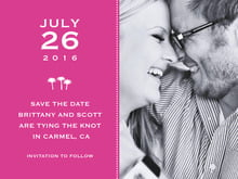 custom save-the-date cards - bright pink - tiny charms (set of 10)