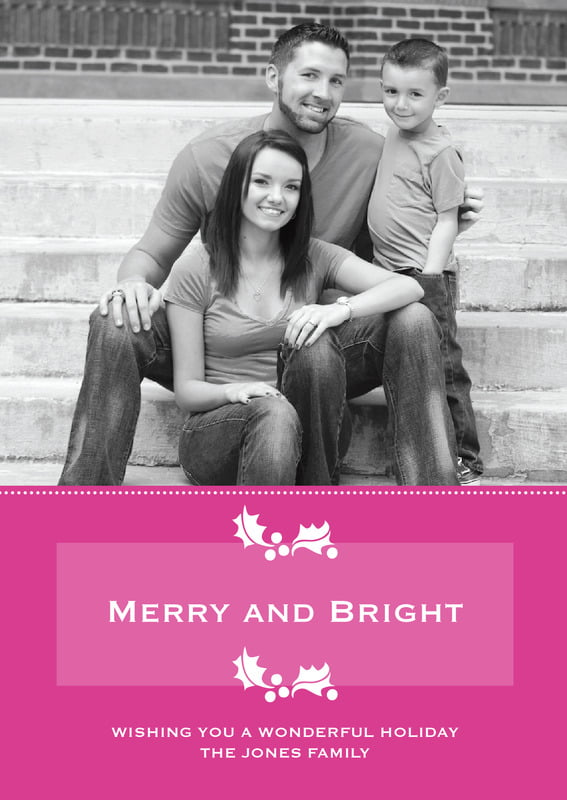 holiday cards - bright pink - tiny charms (set of 10)